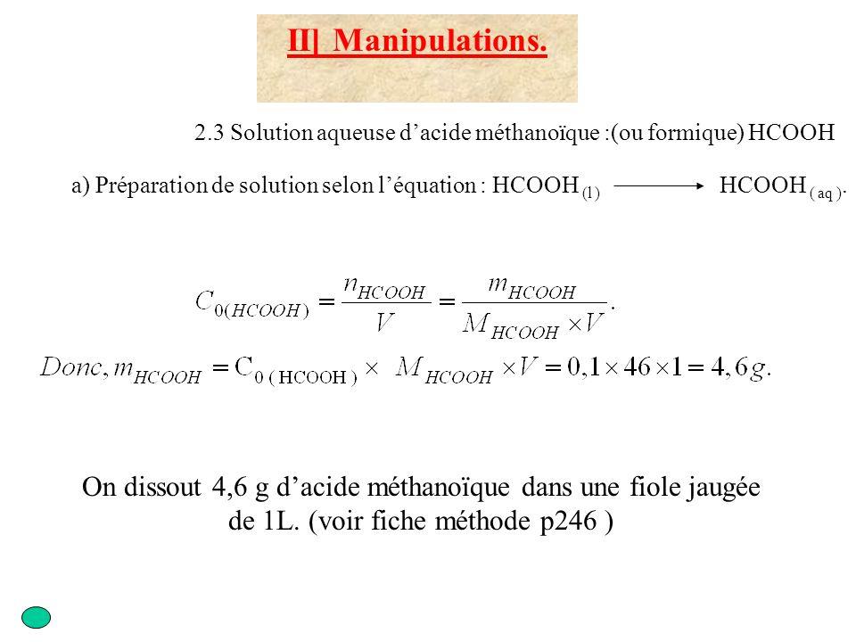 II] Manipulations. 2.3 Solution aqueuse d'acide méthanoïque :(ou formique) HCOOH.